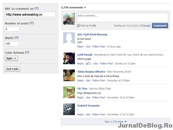 Creaza aplicatia de comentarii Facebook