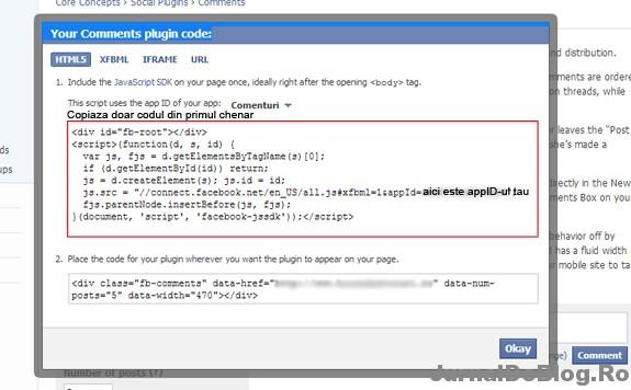 Codul aplicatiei Comentarii Facebook