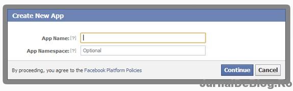 Creaza aplicatie Facebook pentru obtinerea de appID